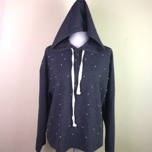 Zara Trafaluc Hooded Sweater with Pearl accents